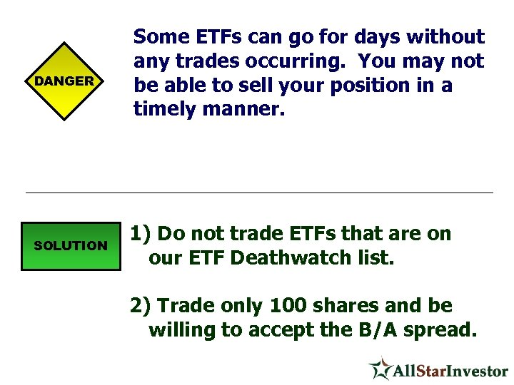 DANGER SOLUTION Some ETFs can go for days without any trades occurring. You may
