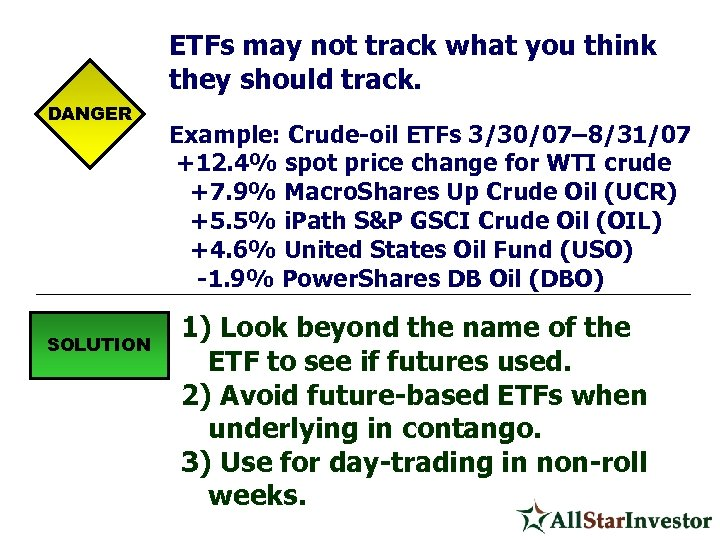 ETFs may not track what you think they should track. DANGER SOLUTION Example: Crude-oil