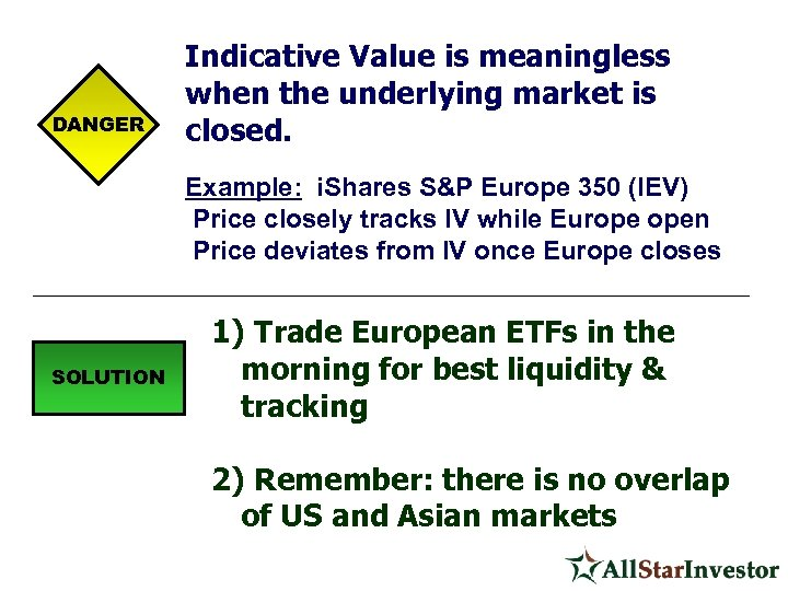 DANGER Indicative Value is meaningless when the underlying market is closed. Example: i. Shares