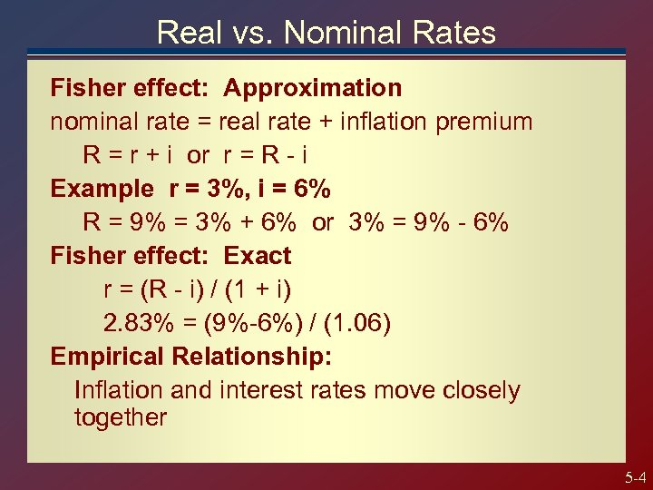 Real vs. Nominal Rates Fisher effect: Approximation nominal rate = real rate + inflation