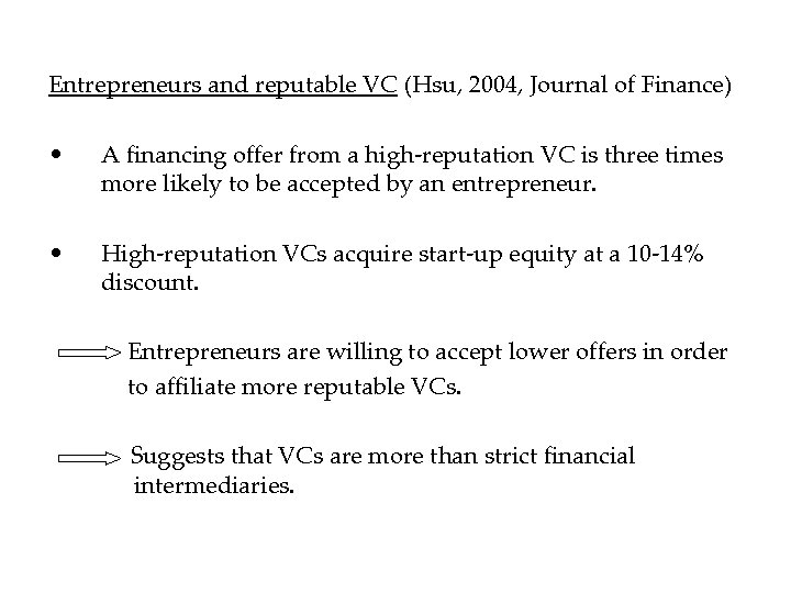 Entrepreneurs and reputable VC (Hsu, 2004, Journal of Finance) • A financing offer from