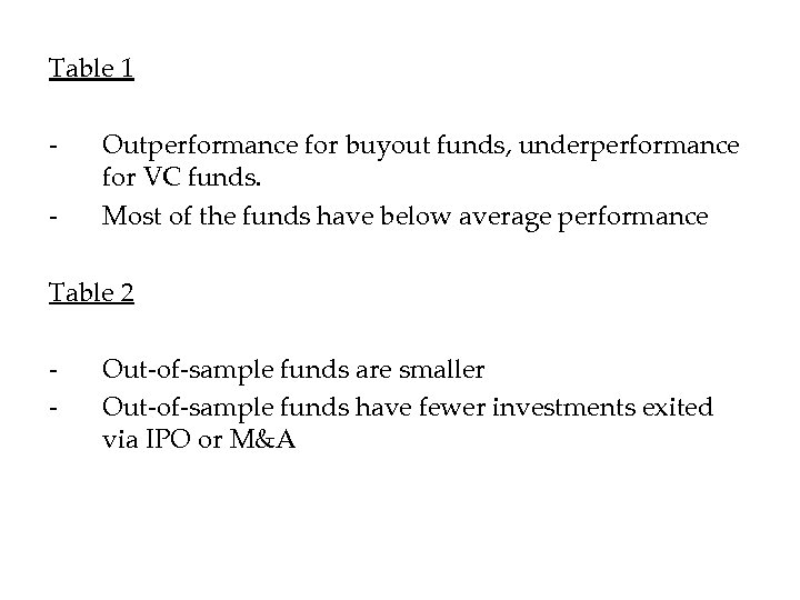 Table 1 - Outperformance for buyout funds, underperformance for VC funds. Most of the