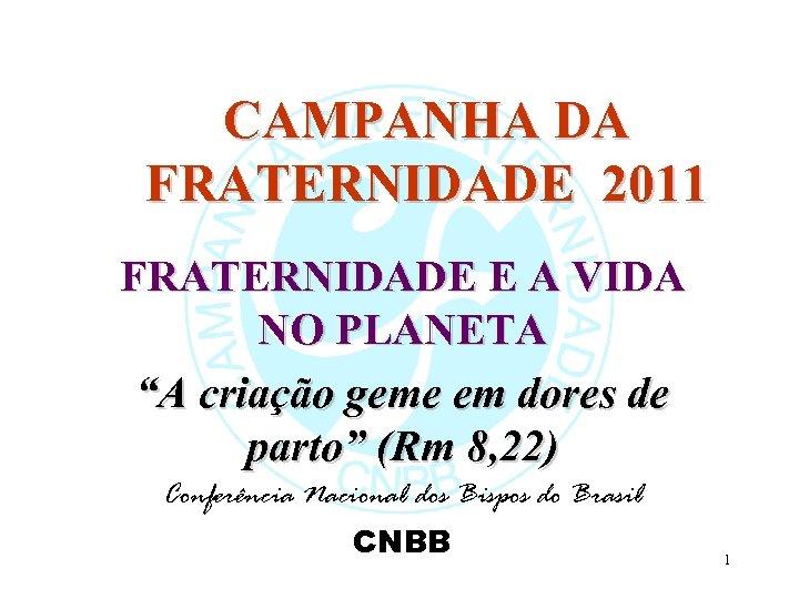 """CAMPANHA DA FRATERNIDADE 2011 FRATERNIDADE E A VIDA NO PLANETA """"A criação geme em"""