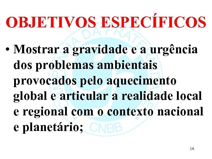 OBJETIVOS ESPECÍFICOS • Mostrar a gravidade e a urgência dos problemas ambientais provocados pelo