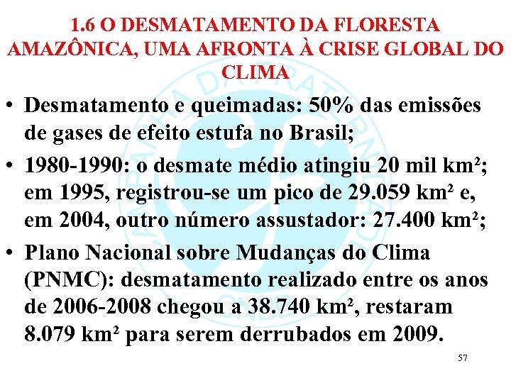 1. 6 O DESMATAMENTO DA FLORESTA AMAZÔNICA, UMA AFRONTA À CRISE GLOBAL DO CLIMA