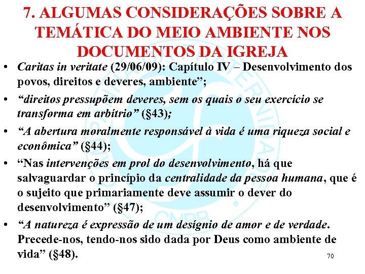 7. ALGUMAS CONSIDERAÇÕES SOBRE A TEMÁTICA DO MEIO AMBIENTE NOS DOCUMENTOS DA IGREJA •