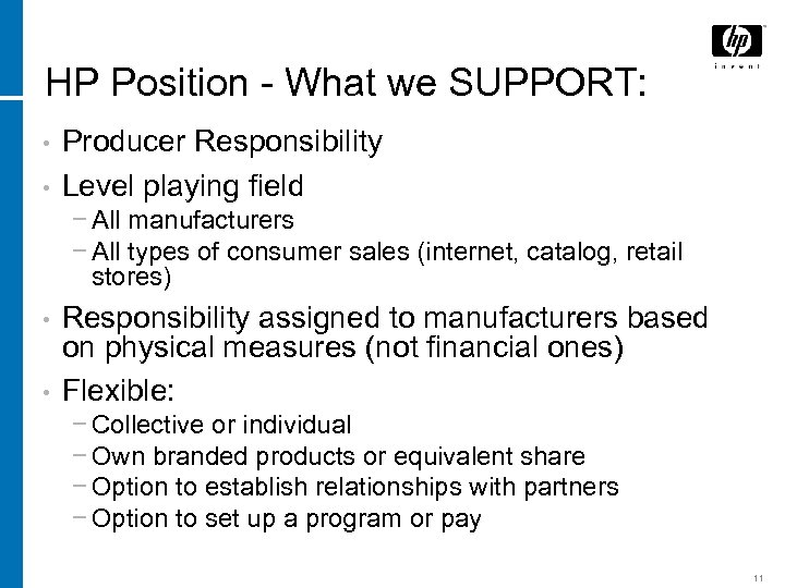 HP Position - What we SUPPORT: • • Producer Responsibility Level playing field −