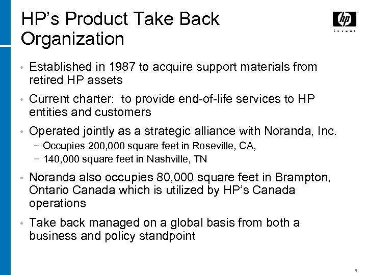 HP's Product Take Back Organization • Established in 1987 to acquire support materials from