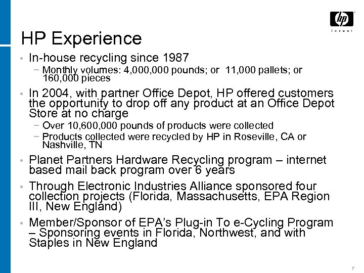 HP Experience • In-house recycling since 1987 − Monthly volumes: 4, 000 pounds; or