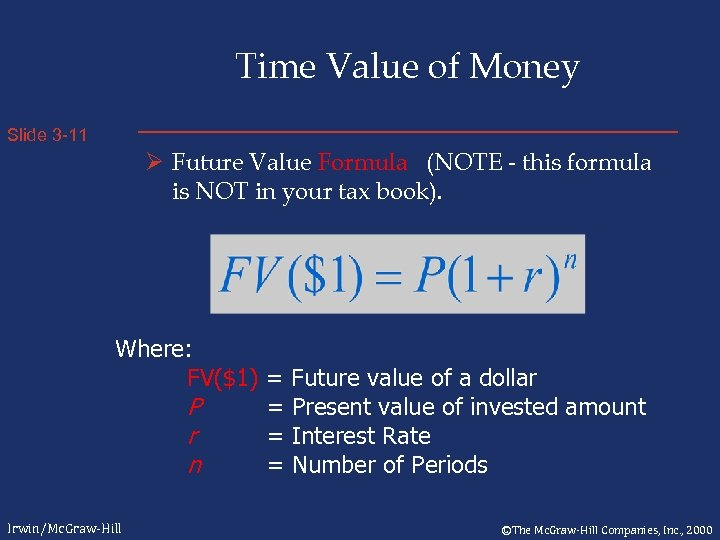 Time Value of Money Slide 3 -11 Ø Future Value Formula (NOTE - this