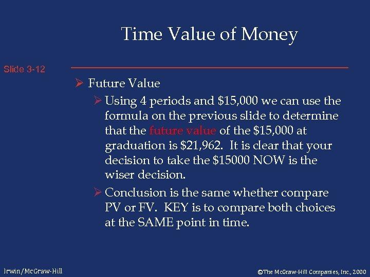 Time Value of Money Slide 3 -12 Ø Future Value Ø Using 4 periods