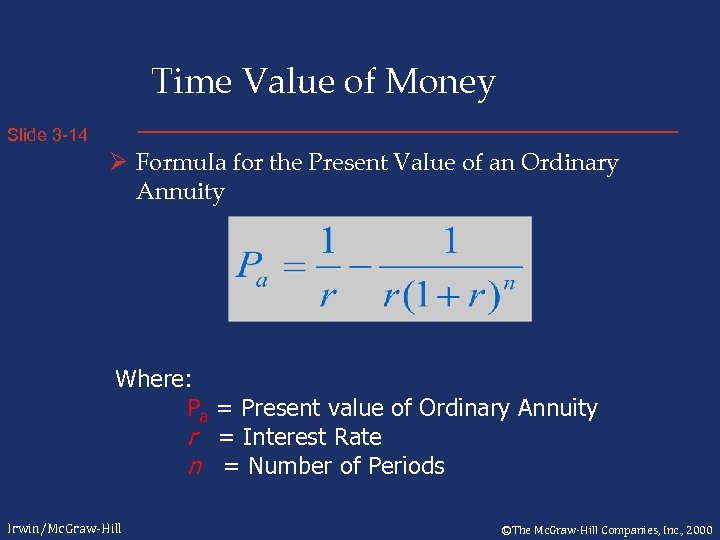 Time Value of Money Slide 3 -14 Ø Formula for the Present Value of