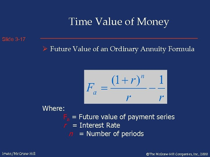 Time Value of Money Slide 3 -17 Ø Future Value of an Ordinary Annuity