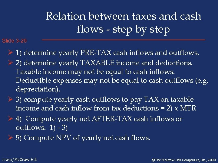 Relation between taxes and cash flows - step by step Slide 3 -20 Ø