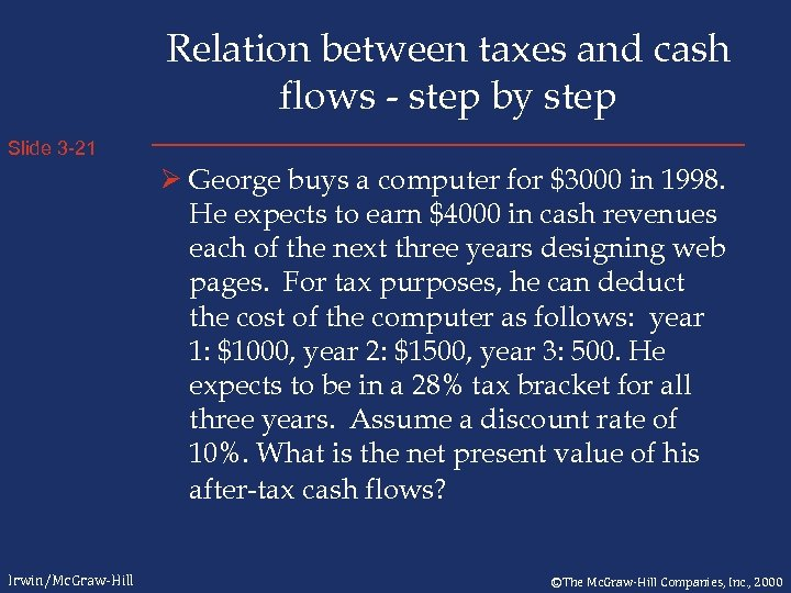 Relation between taxes and cash flows - step by step Slide 3 -21 Ø