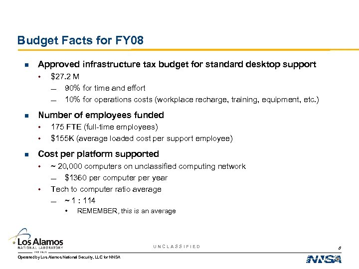 Budget Facts for FY 08 n Approved infrastructure tax budget for standard desktop support