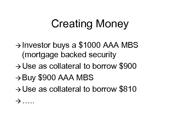 Creating Money à Investor buys a $1000 AAA MBS (mortgage backed security à Use