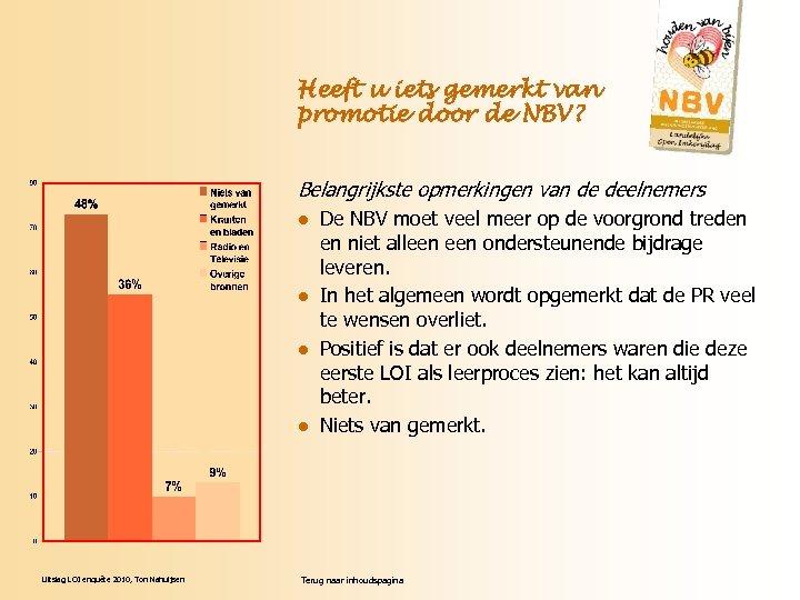 Heeft u iets gemerkt van promotie door de NBV? Belangrijkste opmerkingen van de deelnemers