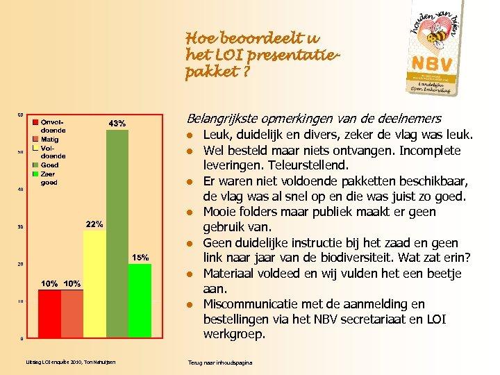 Hoe beoordeelt u het LOI presentatiepakket ? Belangrijkste opmerkingen van de deelnemers l l