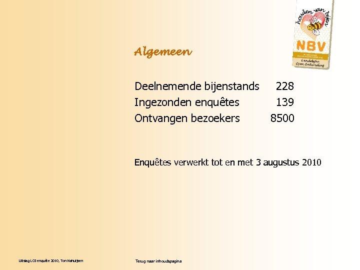 Algemeen Deelnemende bijenstands 228 Ingezonden enquêtes 139 Ontvangen bezoekers 8500 Enquêtes verwerkt tot en