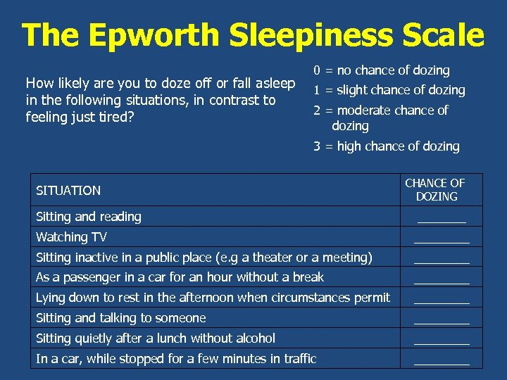 The Epworth Sleepiness Scale How likely are you to doze off or fall asleep