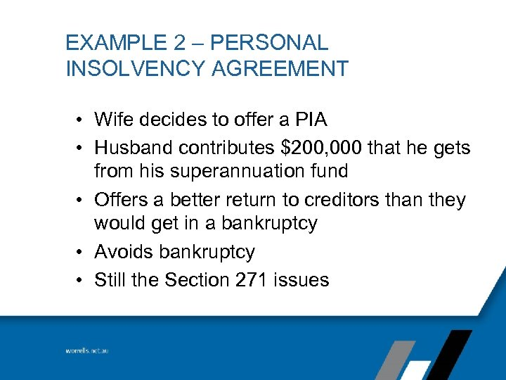 Personal insolvency dilemmas financial consumer right council example 2 personal insolvency agreement wife decides to offer a pia platinumwayz