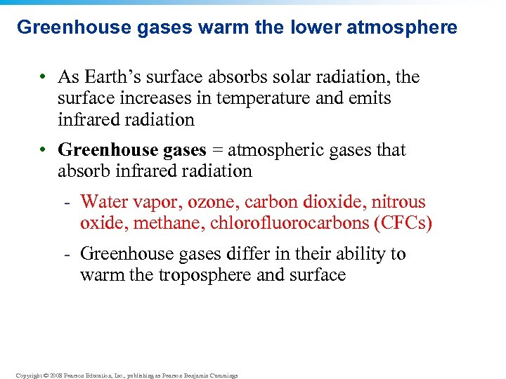 Greenhouse gases warm the lower atmosphere • As Earth's surface absorbs solar radiation, the