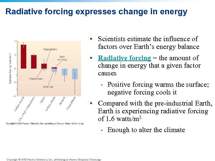 Radiative forcing expresses change in energy • Scientists estimate the influence of factors over