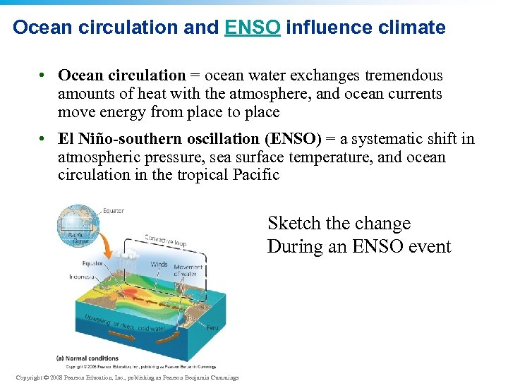 Ocean circulation and ENSO influence climate • Ocean circulation = ocean water exchanges tremendous