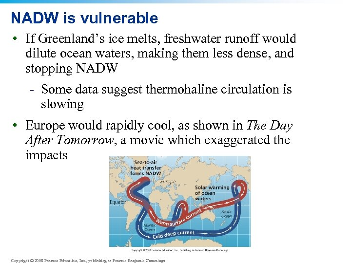 NADW is vulnerable • If Greenland's ice melts, freshwater runoff would dilute ocean waters,