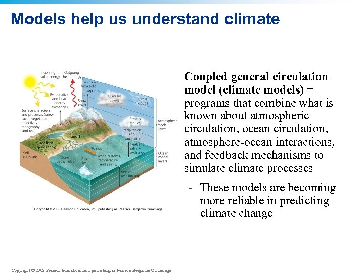 Models help us understand climate • Coupled general circulation model (climate models) = programs