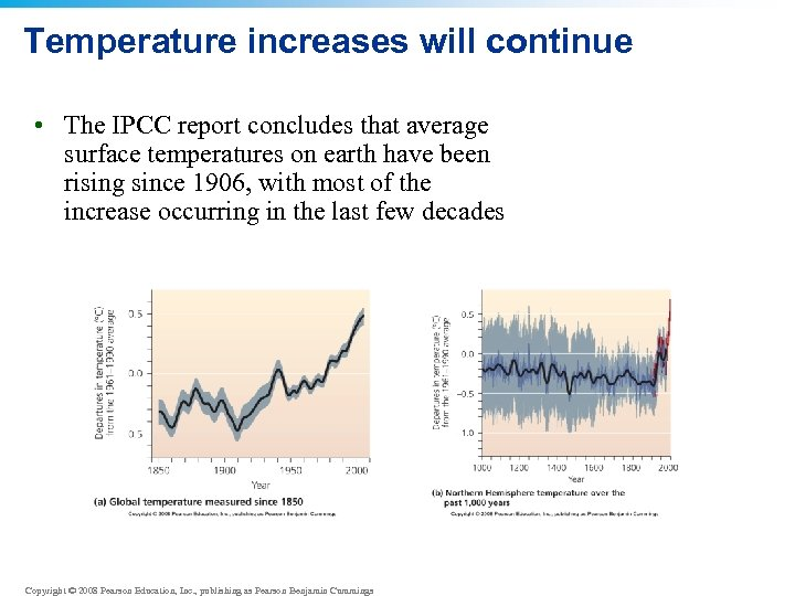 Temperature increases will continue • The IPCC report concludes that average surface temperatures on