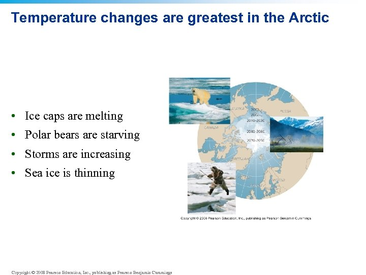 Temperature changes are greatest in the Arctic • Ice caps are melting • Polar