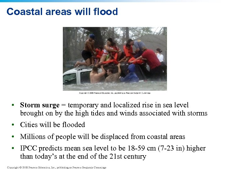 Coastal areas will flood • Storm surge = temporary and localized rise in sea