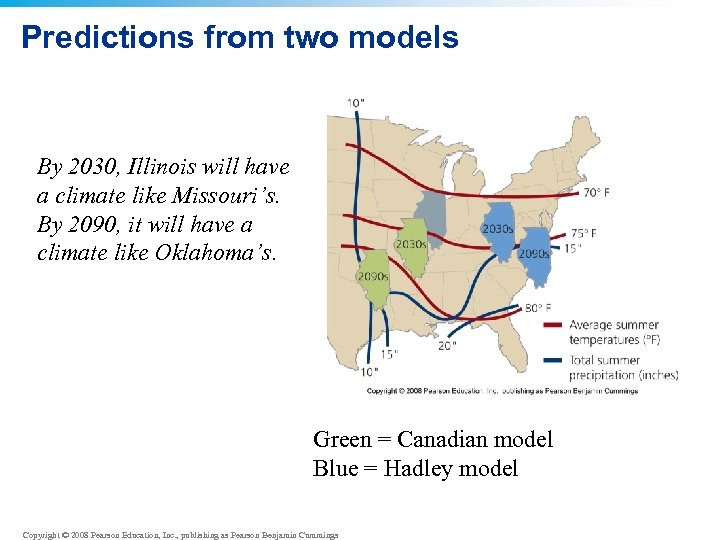 Predictions from two models By 2030, Illinois will have a climate like Missouri's. By