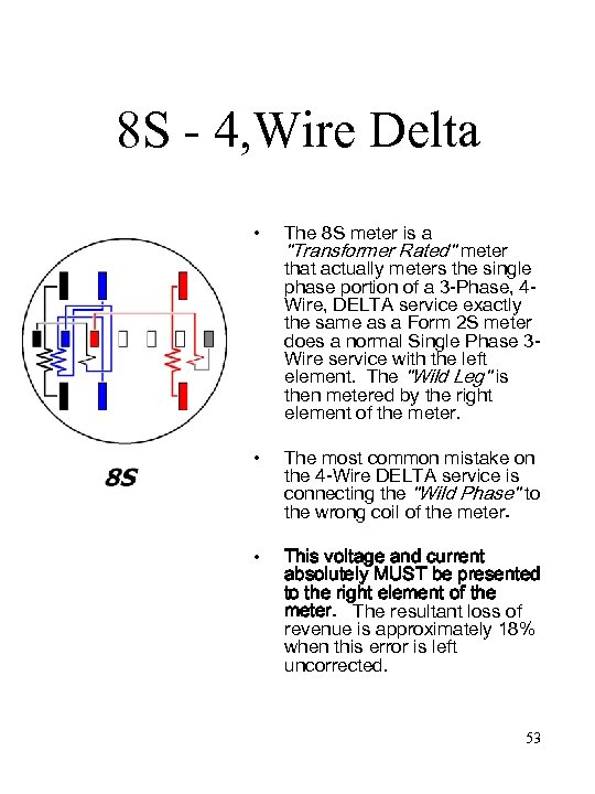 8 S - 4, Wire Delta • • • The 8 S meter is