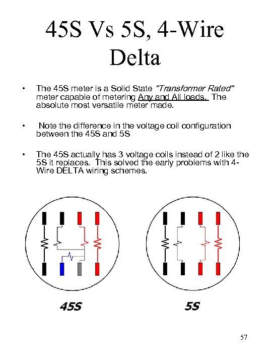 45 S Vs 5 S, 4 -Wire Delta • The 45 S meter is