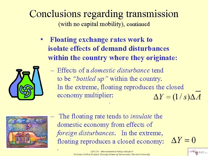 Conclusions regarding transmission (with no capital mobility), continued • Floating exchange rates work to