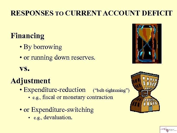 RESPONSES TO CURRENT ACCOUNT DEFICIT Financing • By borrowing • or running down reserves.