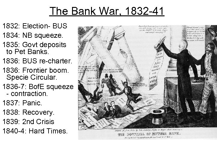 The Bank War, 1832 -41 1832: Election- BUS 1834: NB squeeze. 1835: Govt deposits