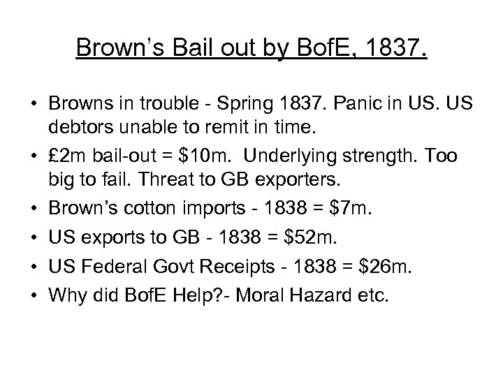 Brown's Bail out by Bof. E, 1837. • Browns in trouble - Spring 1837.
