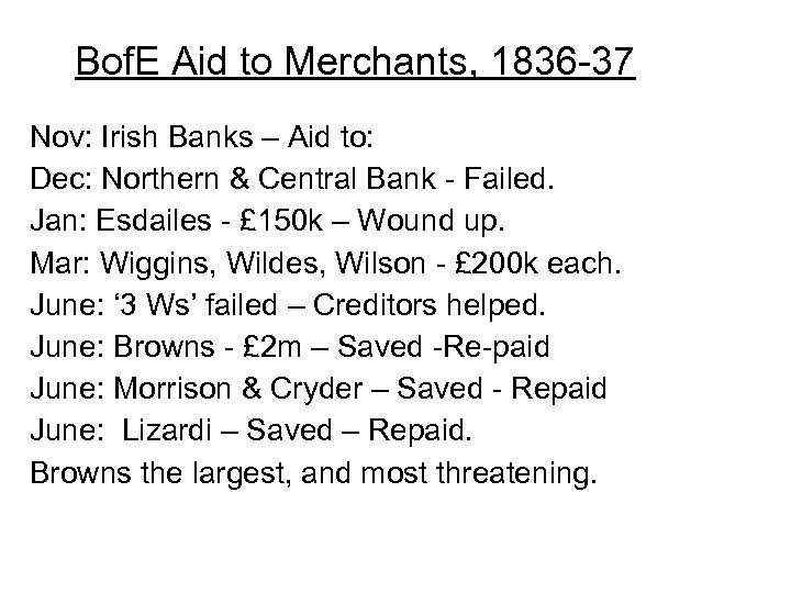 Bof. E Aid to Merchants, 1836 -37 Nov: Irish Banks – Aid to: Dec: