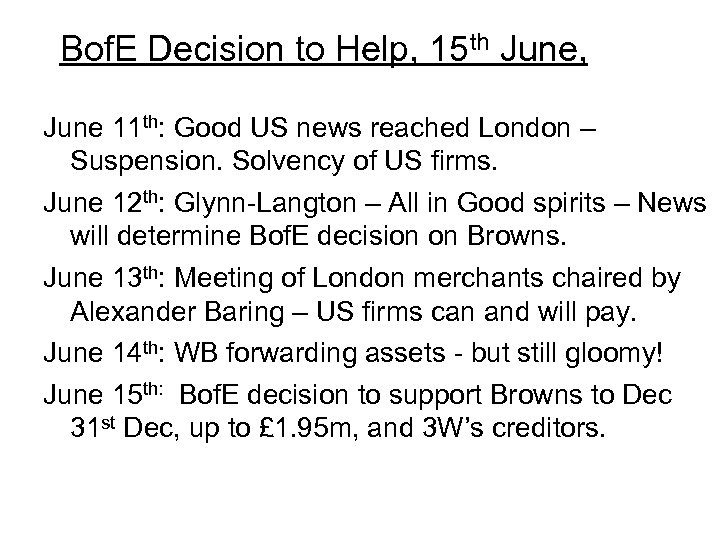 Bof. E Decision to Help, 15 th June, June 11 th: Good US news