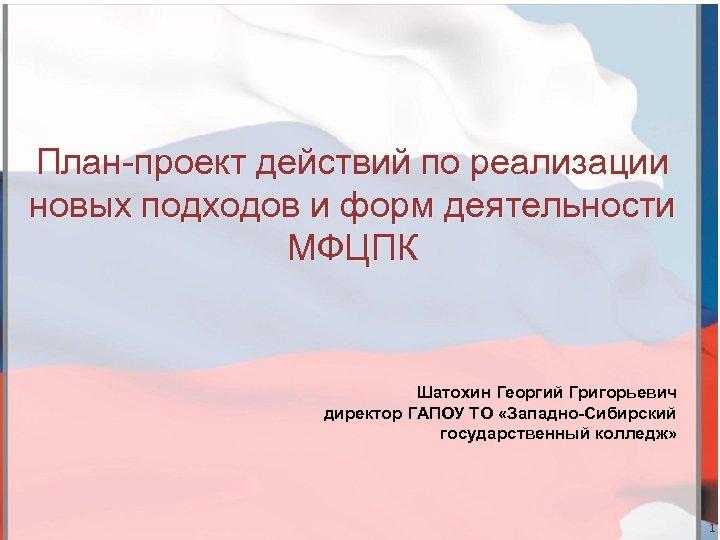 План-проект действий по реализации новых подходов и форм деятельности МФЦПК Шатохин Георгий Григорьевич директор