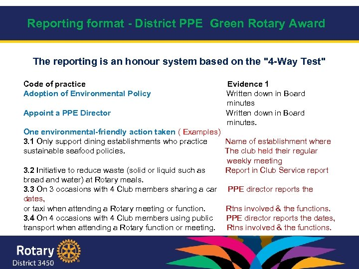 Reporting format - District PPE Green Rotary Award The reporting is an honour system