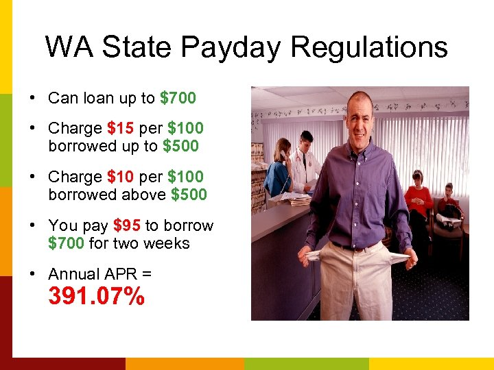 WA State Payday Regulations • Can loan up to $700 • Charge $15 per