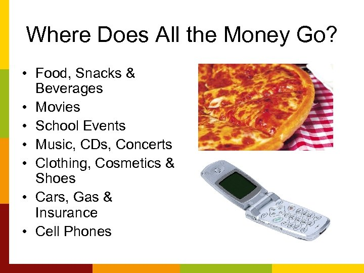 Where Does All the Money Go? • Food, Snacks & Beverages • Movies •