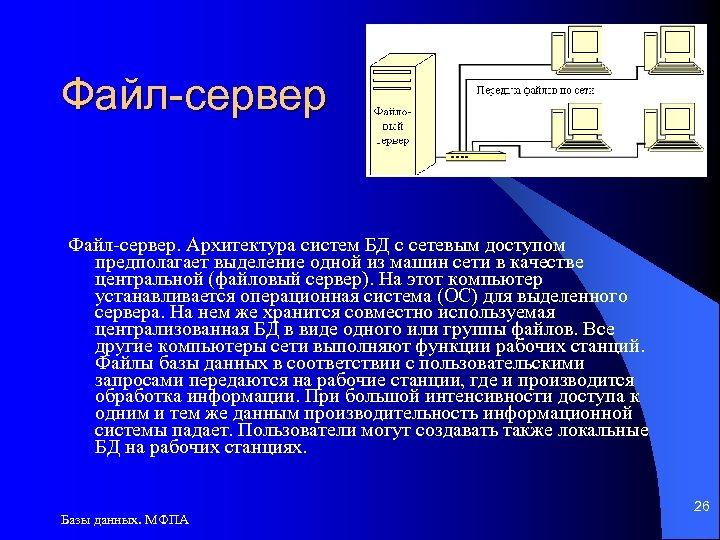 Файл-сервер. Архитектура систем БД с сетевым доступом предполагает выделение одной из машин сети в