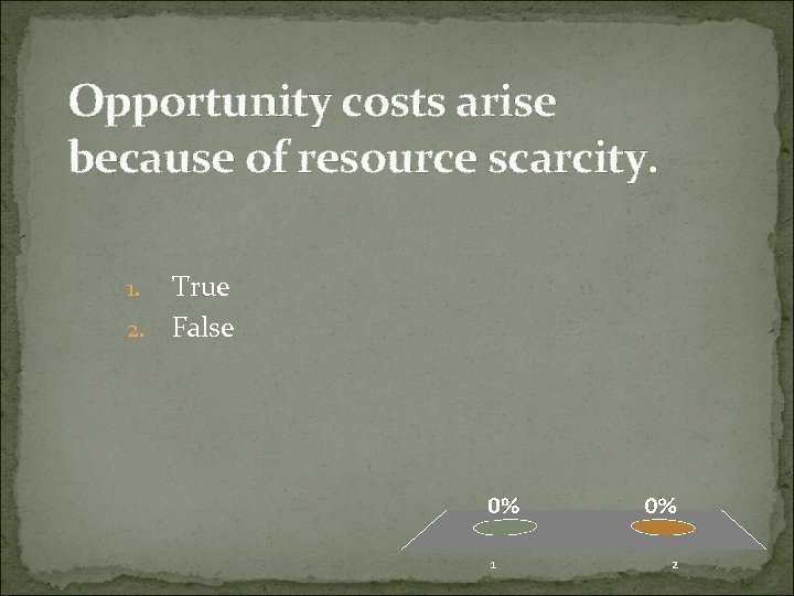 Opportunity costs arise because of resource scarcity. True 2. False 1.
