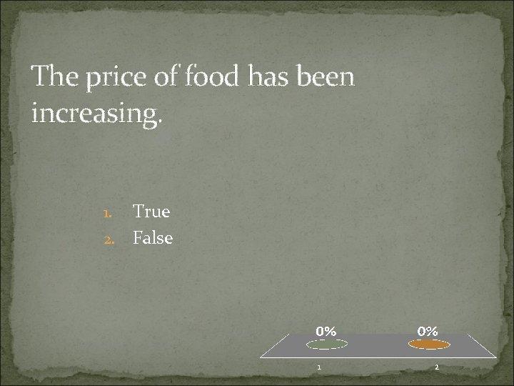 The price of food has been increasing. True 2. False 1.